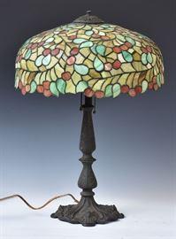 leaded glass lamp, Wilkenson?, bid online at www.fairfieldauction.com