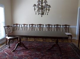 Banded table with 8 chairs