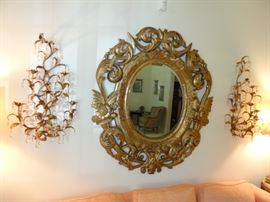 Large Mirror and Sconces