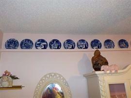 Blue and White Christmas plates--full set