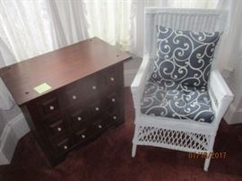 hand made cabinet and older wicker