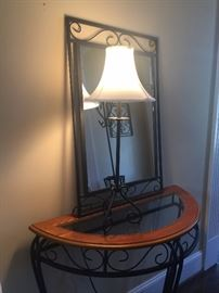 This foyer table, lamp and mirror match the hall tree - instant decorated foyer!!!