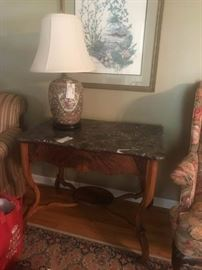 #63  Marble Top Antique Table with drawer  37x25x30  $250