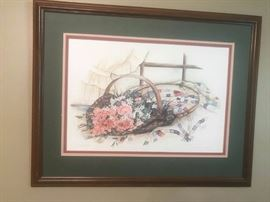 #6 Paula Vaughn 675/1000 Print quilt and flower as is no glass $60