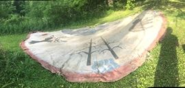 Canvas of a huge 16ft tee pee. Lodge poles are gone, but canvas is quite usable. Beautifully painted in Indian motif.