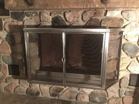 """Custom build Stainless Steel Fireplace screen for stone fireplace. Screen was built to fit a 45"""" wide by 30"""" high opening. However, it will fit a 60"""" wide by 30 inch high opening. A remarkable one of kind screen"""