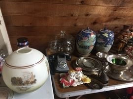Huge Gone with the Wind shade (removed) Vintage Ginger jars, vintage Nutcrackers, English tins, Fitz and Floyd, Brass ships bell.
