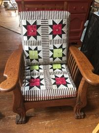 Morris Chair Recliner. Original cushions. Recovered in Adirondack style with hand patched stars and pearl buttons.