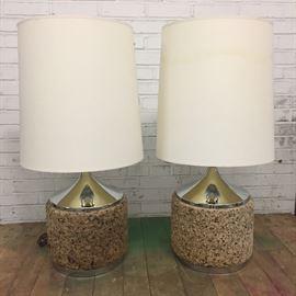 Pair mid-century chrome cork lamps