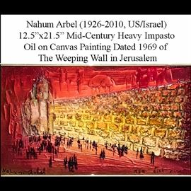 Art Arbel Nahum Impasto Oil On Canvas The Weeping Wall