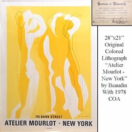 Art Beaudin Aetellier Mourlot New York Colored Lithograph