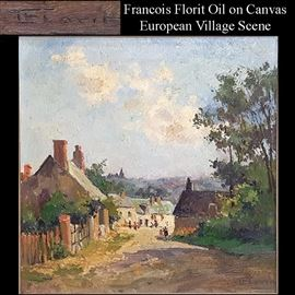 Art Florit Francois Oil On Canvas Village Scene