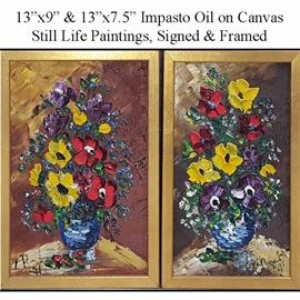 Art Impasto Oil On Canvas Still Life Paintings