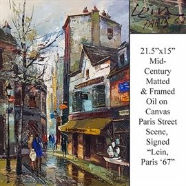 Art Lein Oil On Canvas Mid Century Paris Street Scene