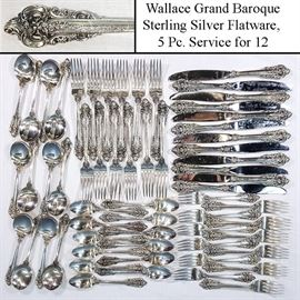 Sterling Silver Grand Baroque Wallace Service For Twelve