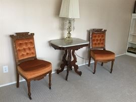 Victorian Chairs and Marble Top Table