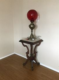 Ruby Glass and Brass Lamp