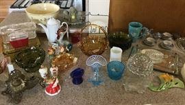 Glass: Fenton, Fostoria, Carnival, refrigerator boxes,