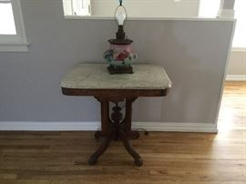 Victorian Marble Table & Lamp