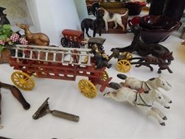 Cast iron vintage horse drawn fire engine