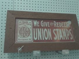 Antique Union Trading Stamp Sign
