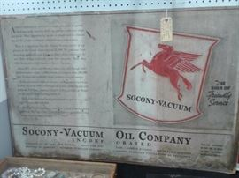 Rare Early Socony Vacuum Oil Co. Poster found in the back room of an old service station