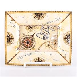 Wedgwood Porcelain Tray: A Wedgwood porcelain tray. This square tray features compass and map motif in tan tones with colorful and gold tone accents. Piece is marked to the underside.
