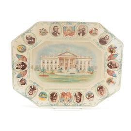 Antique French Porcelain United States Presidential Plate: An antique French porcelain United States presidential plate. This octagonal porcelain plate features portraits of ten presidents with patriotic symbols and a central white house accents in pastel hues on a white background. Plate is marked to the back.