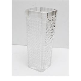 Waterford Crystal Large Tapered Square Vase: A Waterford Crystal large tapered square vase. The vase features a diamond cut pattern with vertical fluting to the rim and base and horizontal fluting to each corner. Maker's mark to the underside.