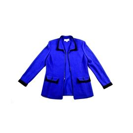 St. John Collection Blue Jacket: A St. John Collection by Marie Gray blue jacket. This blue knit jacket features a collar, front flap pockets and sleeves trimmed in black. It has a zipper closure to the front.