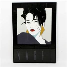 """Patrick Nagel Signed """"Commemorative Number One"""" Serigraph: An original serigraph by artist Patrick Nagel (1945-1984) titled Commemorative Number One. This serigraph depicts the head of a woman with dark hair, pale skin, and dark red lips. The woman wears a pair of large gold-tone triangular earrings. Her dark hair is short with wispy strands hanging in the frame of her face. The remainder of the space features a large black border with the artist's name at the bottom in a tall periwinkle-hued font. Signed by hand in the lower left corner of the plate. The serigraph is framed in a thin black metal frame. It is wired for hanging on the verso."""