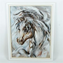 """Hyacinthe Kuller Baron Oil Painting on Canvas """"Arabian Dreamer"""": A large scale original oil painting on canvas Arabian Dreamer by contemporary artist Hyacinthe Kuller Baron (1936- ). This oil painting portrays the head of a wild Arabian horse. A series of brown, white, and grey brush strokes depict the fluid motion of the horse and it's long flowing mane. It has been hand signed the lower right corner of the artwork. The frame is wooden with white and gold-tone paint. It has been wired for hanging on the verso."""