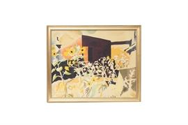 """Original Charles Ephraim Burchfield """"Sunflowers and Red Barn"""" Serigraph: An original Charles Ephraim Burchfield (American 1893-1967) serigraph titled Sunflowers and Red Barn. This rendering features a large garden of sunflowers in front of the artist's barn in Salem, Ohio. Mr. Burchfield was only known to have permitted a small amount of reproductions of his works during his lifetime. This rare serigraph was printed in the 1942 by American Living Art Inc.; and possibly was an edition of only fifty, based on other limited editions works by this company. Charles Burchfield was famous for his nature scenes, and his work is on display in many world renowned institutions, that include the Metropolitan Museum of Art, Smithsonian American Art Museum, the Carnegie Museum of Art, with the largest collection of his works on display in the Burchfield Penney Art Center. More information of Charles Burchfield can be found at the link provided."""