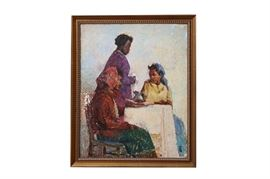 African American Textured Oil Painting - Unsigned: An expertly rendered African American textured oil painting. This unsigned depiction on board, features three attractive young women at tea; finished in a delicate palette of blue, red, purple, and brown.
