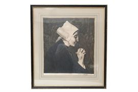 """Original Jean Vyboud Engraving """"Bretonne in Prayer"""": An original Jean Vyboud (French 1872-1944) engraving titled Bretonne in Prayer. This rendering is on vellum, and features a matronly Breton woman deep in solemn prayer. The artist's signature is located to the margin. This work is housed securely under glass with protective matting, and in a black frame."""