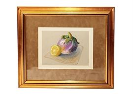 S. Hamel Original Signed Pastel of Fruit: A signed original pastel of fruit by artist S. Hamel. This work depicts a purple eggplant and a cute lemon. Signed in green to the lower left and displayed under glass in a light brown mat and gilded beveled frame. Wired to the back for hanging.