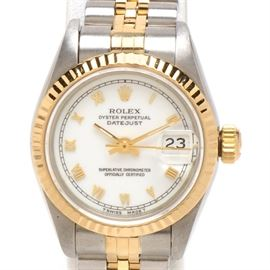 Rolex Datejust 18K Gold & Steel White Roman Automatic Wristwatch: A Rolex Oyster Perpetual Datejust 18K yellow gold, stainless steel and white dial Roman automatic wristwatch. The watch does not come with a box or papers.