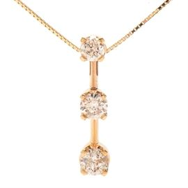 "14K Yellow Gold Diamond Pendant Necklace: A 14K yellow gold diamond pendant necklace with pendant comprising 0.90 ctw in round brilliant cut diamonds, and a 16.00"" box chain. Coordinates with lot #17CIN332-008."
