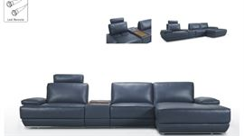 Greyish blue full leather electrical reclining sectional