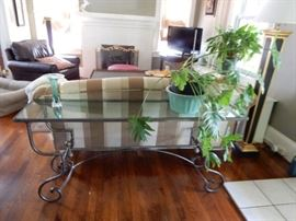 IRON & GLASS SOFA TABLE