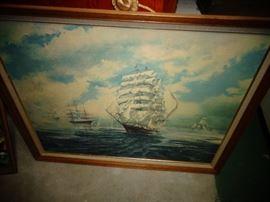 NAUTICAL TALL SHIP VINTAGE PRINT