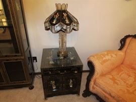 Black Lacquered Oriental Lamp table, Lamp , inlaid figures