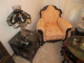 Victorian chair, Oriental inlaid lamp