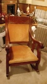 Mission style oak rocking chair