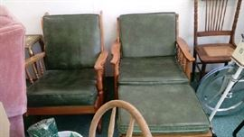 Midcentury modern chairs and ottoman