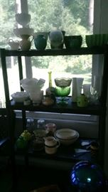 Lots of garden pots, milk glass, and more