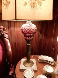 TABLE LAMP, CRANBERRY CUT TO CLEAR