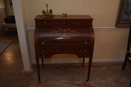 Late Victorian English inlaid mahogany and marquetry cylinder bureau, made between 1871 and 1874
