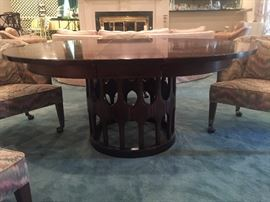 Mid Century Modern Table with one leaf.  Round or oval option.
