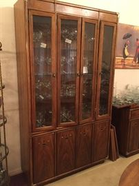Drexel Heritage Accolade campaign style china cabinet with brass fittings - Mid Century Modern